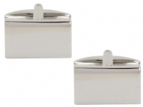 Dalaco 90-1380 Rectangle Shiny Plain Rhodium Plated Cufflinks